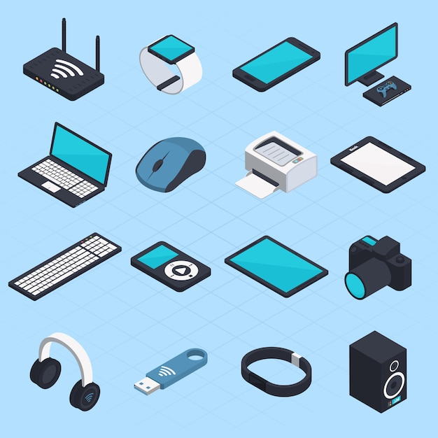 Isometric wireless mobile devices Free Vector