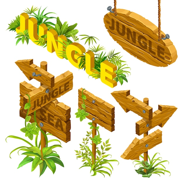 Isometric wooden boards with leaves. Free Vector