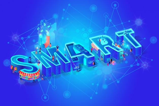 Isometric Word Smart On Blue Gradient Vector Premium Download
