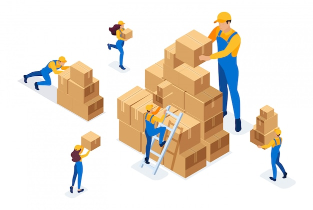 Isometric the work of movers in the warehouse, placing boxes, collecting goods. Premium Vector
