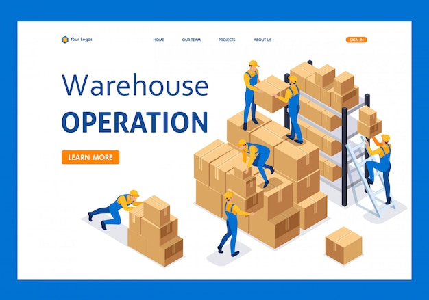 Isometric workers in a warehouse collect boxes, warehouse work landing page Premium Vector