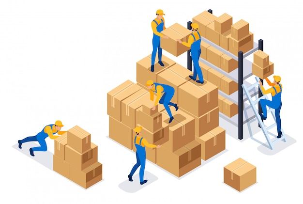 Isometric workers in a warehouse collect boxes, warehouse work. Premium Vector