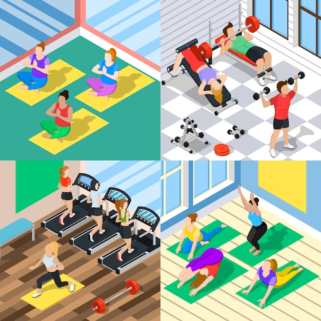 Isometric workout 2x2 concept Free Vector