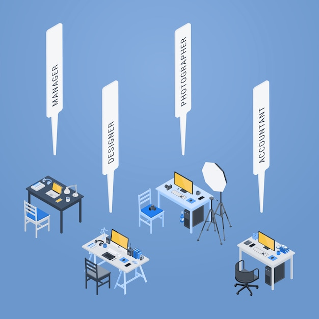 Isometric workplaces of the manager, designer, photographer and accountant Premium Vector