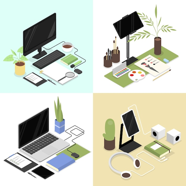 Isometric workplaces set with office supplies such as laptop computer, cup, tablet, mouse, headphones and others. designer, office worker and student workspace Premium Vector
