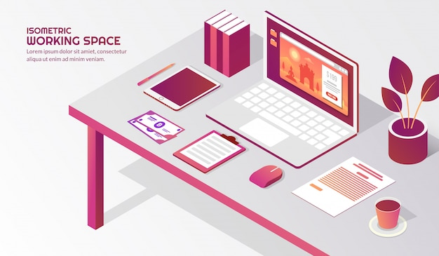 Isometric workspace with elements on the table Premium Vector