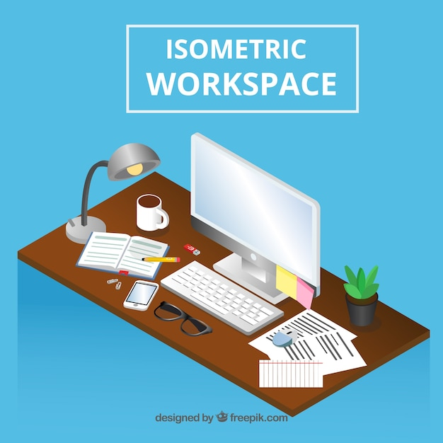Isometric workspace with modern computer