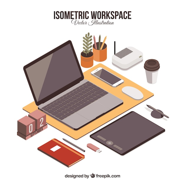 Isometric workspace with modern style