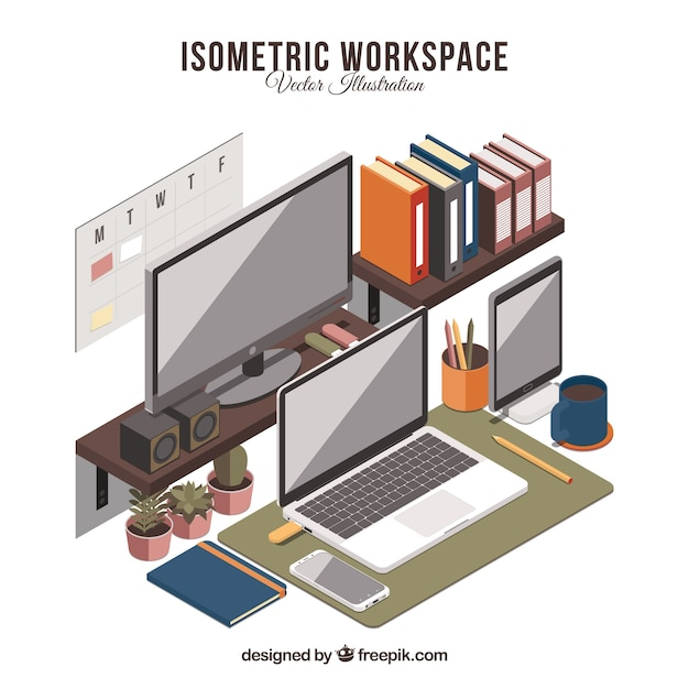 Isometric workspace with modern technology