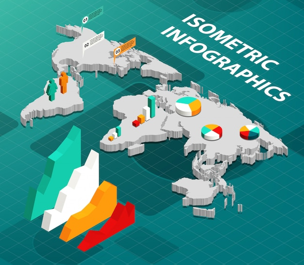 Isometric world map with business infographics design elements Free Vector