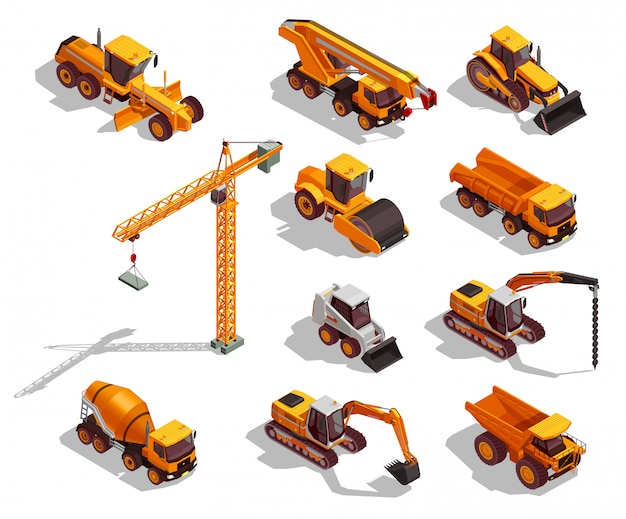 Isometric yellow construction machinery collection Free Vector