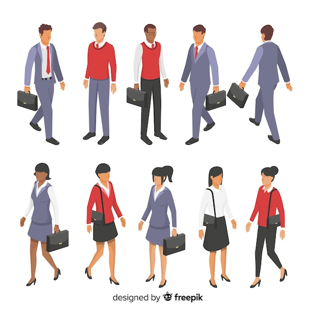 Isometric young business people Free Vector