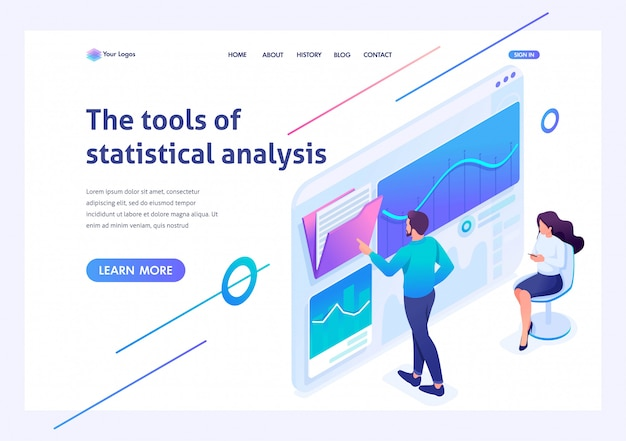 Isometric young entrepreneurs testing statistical analysis tools on a tablet. template landing page for website Premium Vector