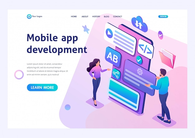Isometric young girl and boy develop mobile application for smartphone. template landing page for website Premium Vector