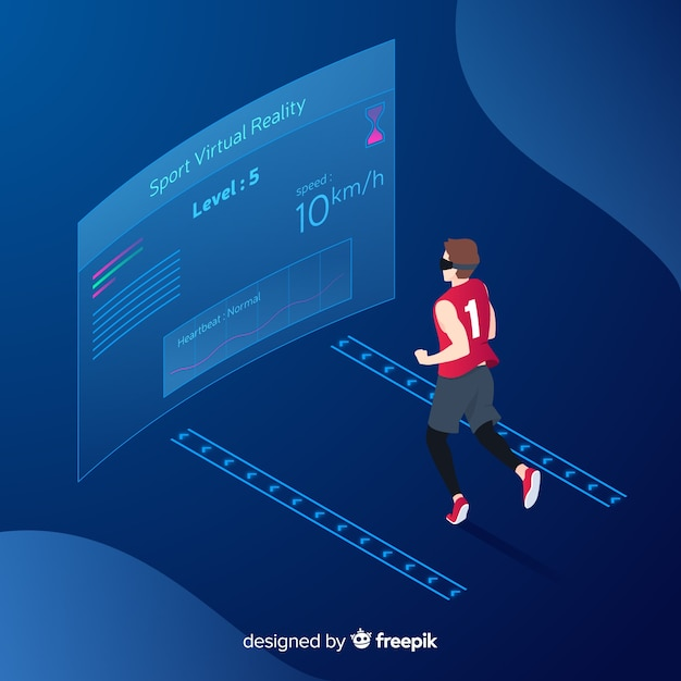 Isometric young person running using technological devices background Free Vector