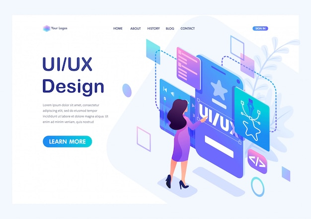 Isometric  a young woman creates a custom design for a mobile application, ui ux design. Premium Vector