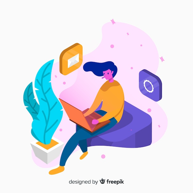 Isometric young woman using technological devices background Free Vector