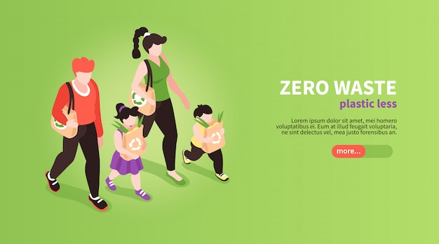 Isometric zero waste banner background with slider button editable text and human characters of family members  illustration Free Vector