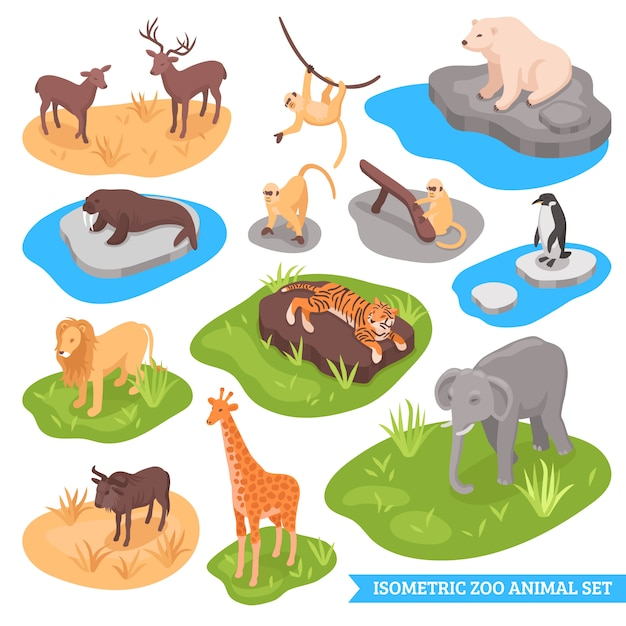 Isometric zoo animal set Free Vector