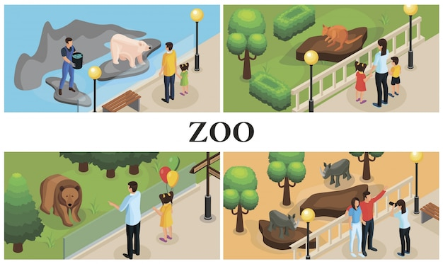 Изометрические животные зоопарка красочная композиция с родителями, детьми, зоопарками, носорогами, кенгуру, полярными и бурыми медведями Бесплатные векторы