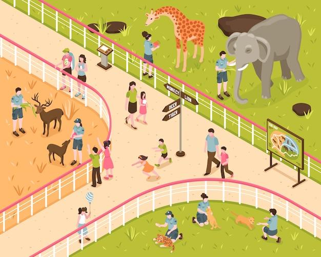 Изометрическая композиция зоопарка с человеческими персонажами детей и взрослых с дикими животными за парковой оградой Бесплатные векторы