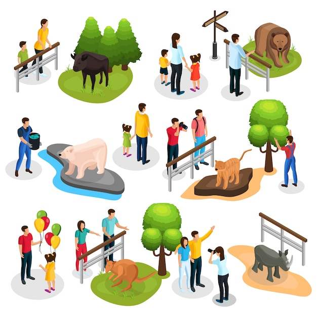 さまざまな動物の家族の子供たちと分離された飼育係と等尺性動物園要素コレクション 無料ベクター