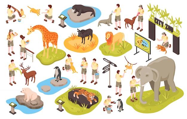 Lo zoo isometrico ha messo con le immagini dei caratteri umani degli animali dell'illustrazione del cector degli oggetti del parco animali e del personale Vettore gratuito