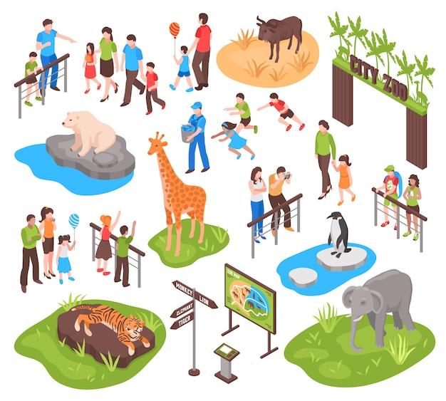 Isometric zoo set Free Vector