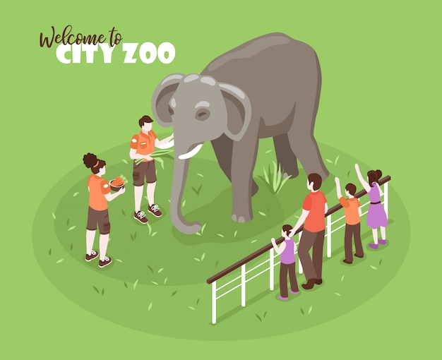 Isometric zoo workers color background with editable text and human characters with kids and big elephant Free Vector