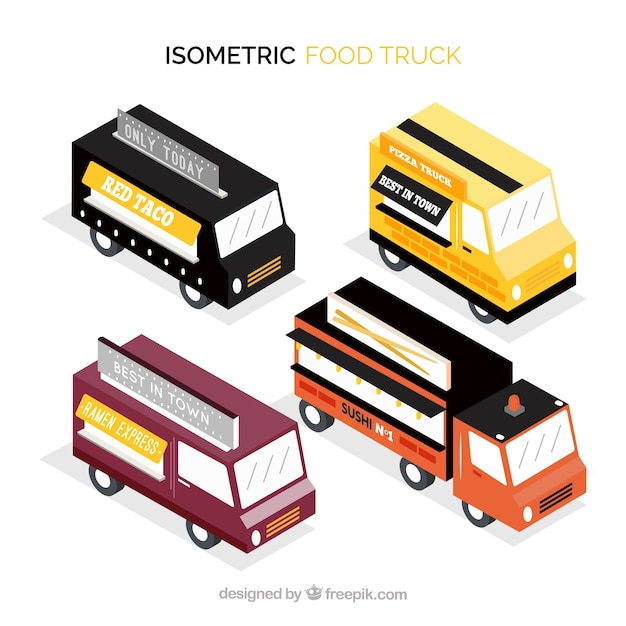 Isometrick pack of modern food trucks