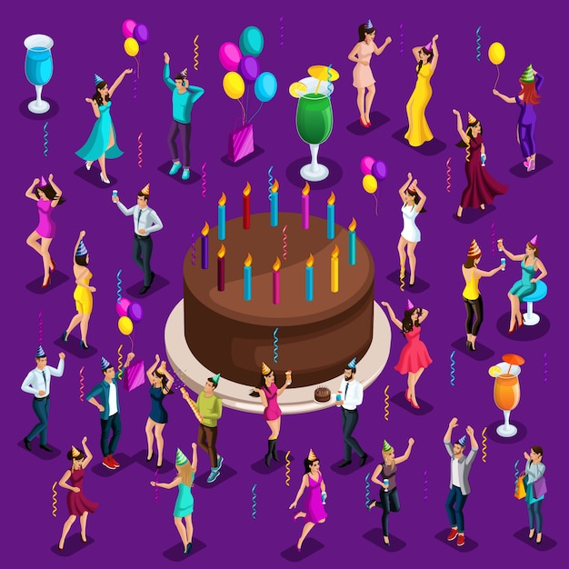 Isometry big celebratory cake with candles, dancing people, happy, drinks, balloons, garlands, fireworks Premium Vector