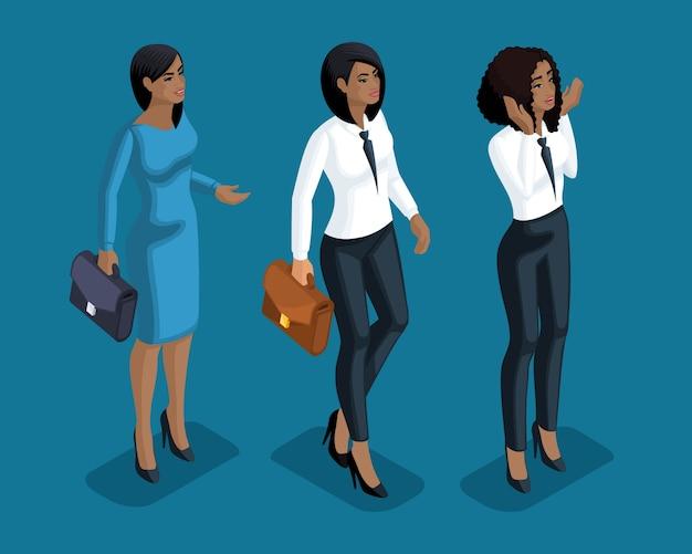 Изометрия девушка эмоции, жесты рук бизнес-леди, адвокаты, банковские работники, выражение лица, глаз эмоции, губы, гнев, радость, удивление. качественная изометрия Premium векторы