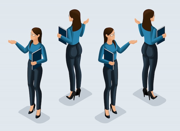 Isometry is a business woman.  girl office worker, in a business suit front view and rear view. human icon for  illustrations Premium Vector