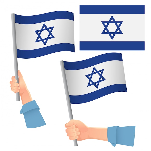 Israel flag in hand set Premium Vector