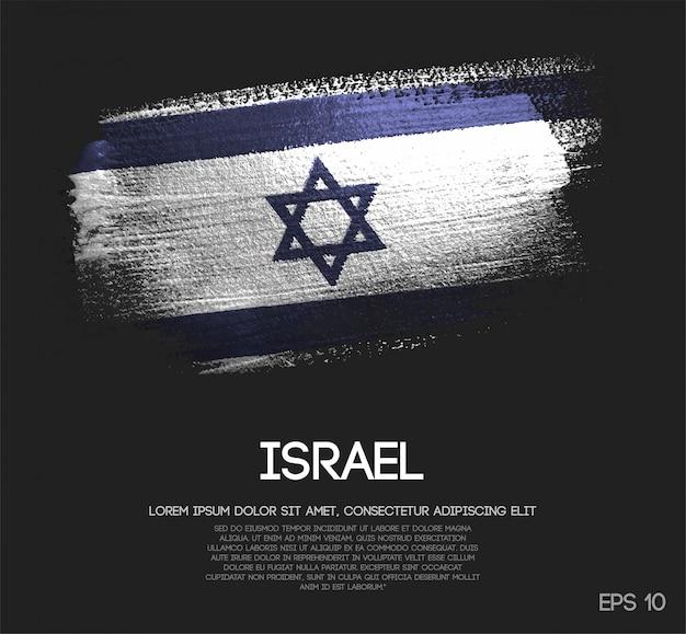 Israel flag made of glitter sparkle brush paint Premium Vector