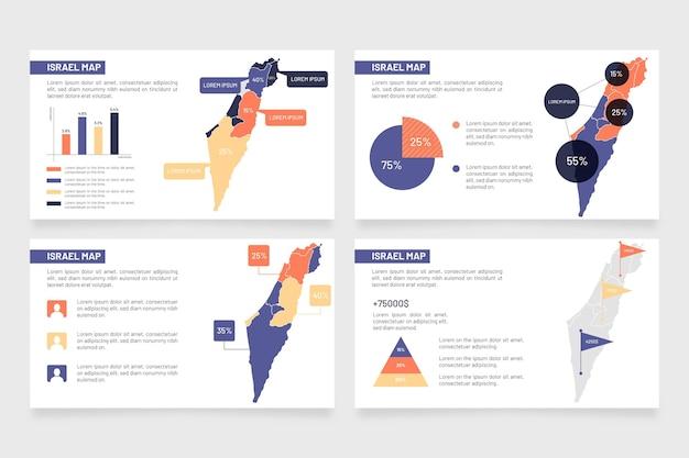 Israele mappa infografica in design piatto Vettore gratuito