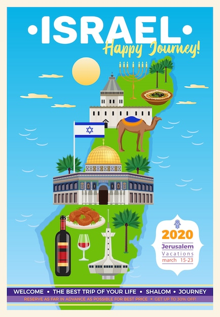 Israel travel poster with map and sights symbols flat  illustration Free Vector