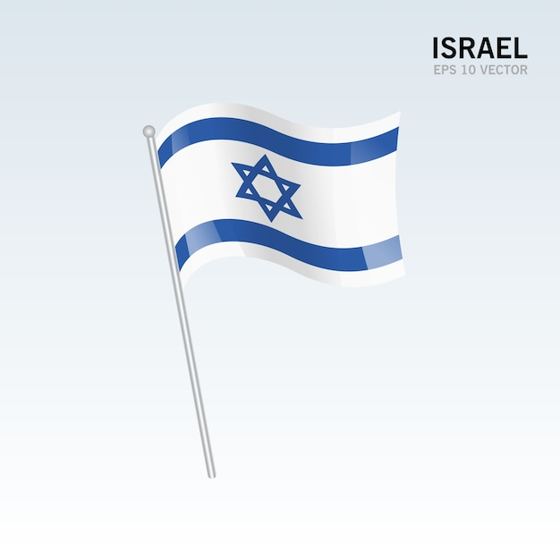Israel waving flag isolated on gray background Premium Vector