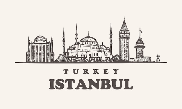 이스탄불 스카이 라인, 터키 프리미엄 벡터