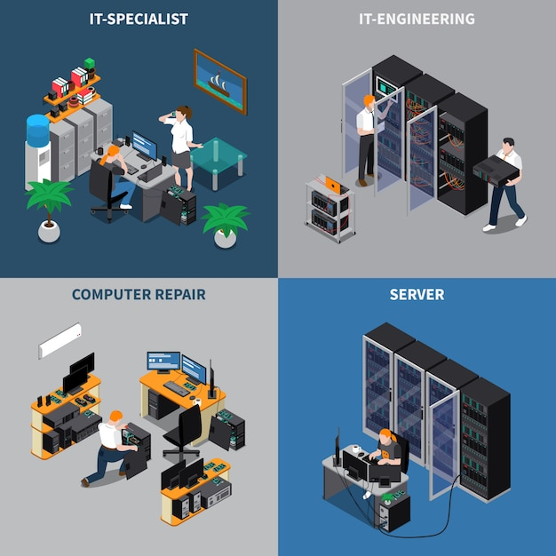 It engineers 2x2 composition set Free Vector