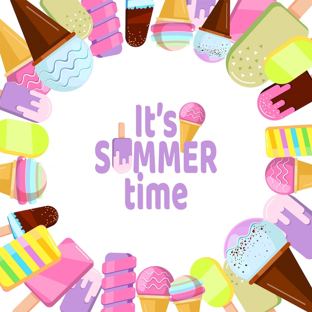 It is summer time - background with ice cream Premium Vector
