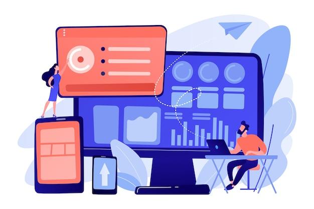 It managers integrate technologies into business operations. enterprise it management, it software solutions, enterprise architecture concept illustration Free Vector