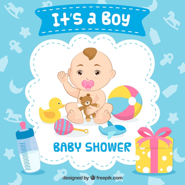 It's a boy baby shower background Free Vector