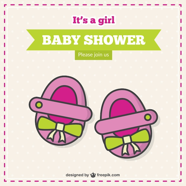 it s a girl baby shower card vector free download