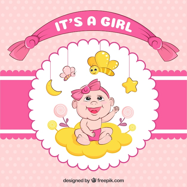 It's a girl baby shower background Free Vector