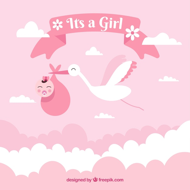 Baby Girl Wallpaper: It's A Girl Baby Shower Background Vector