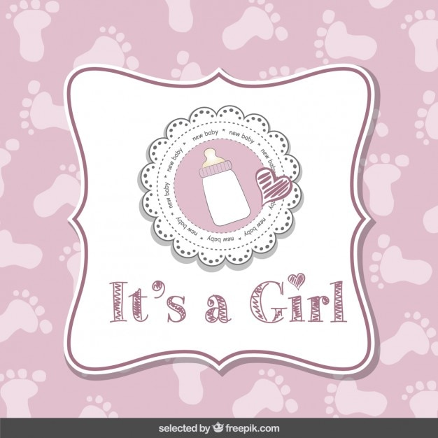 Itu0027s A Girl, Baby Shower Card Free Vector