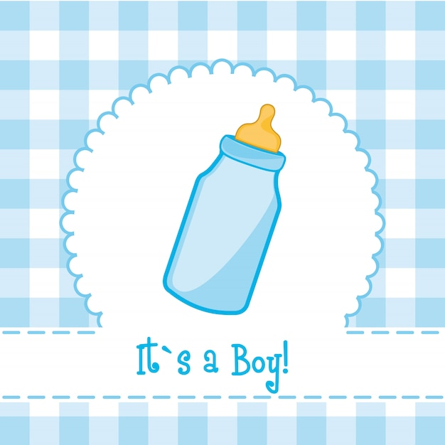 It´s a boy card with bottle baby baby shower Premium Vector