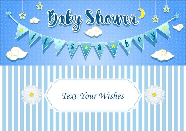 It's a boy invitation card design template Premium Vector