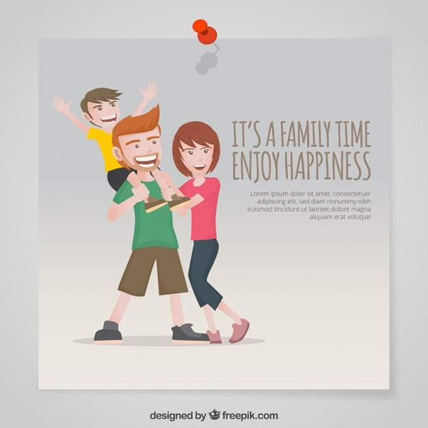 It's a family time enjoy happiness Free Vector